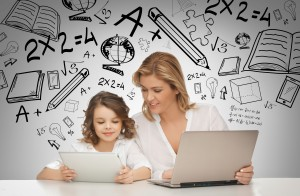 21574405 - education, technology, internet and parenting concept - girl and mother with tablet and laptop