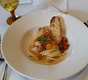Logan McCurry - Lemon and mint linguine with Mayport shrimp, Andouille, pickled bell peppers and shallots, heirloom tomatoes